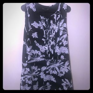 Black & white floral drop waist dress size 14